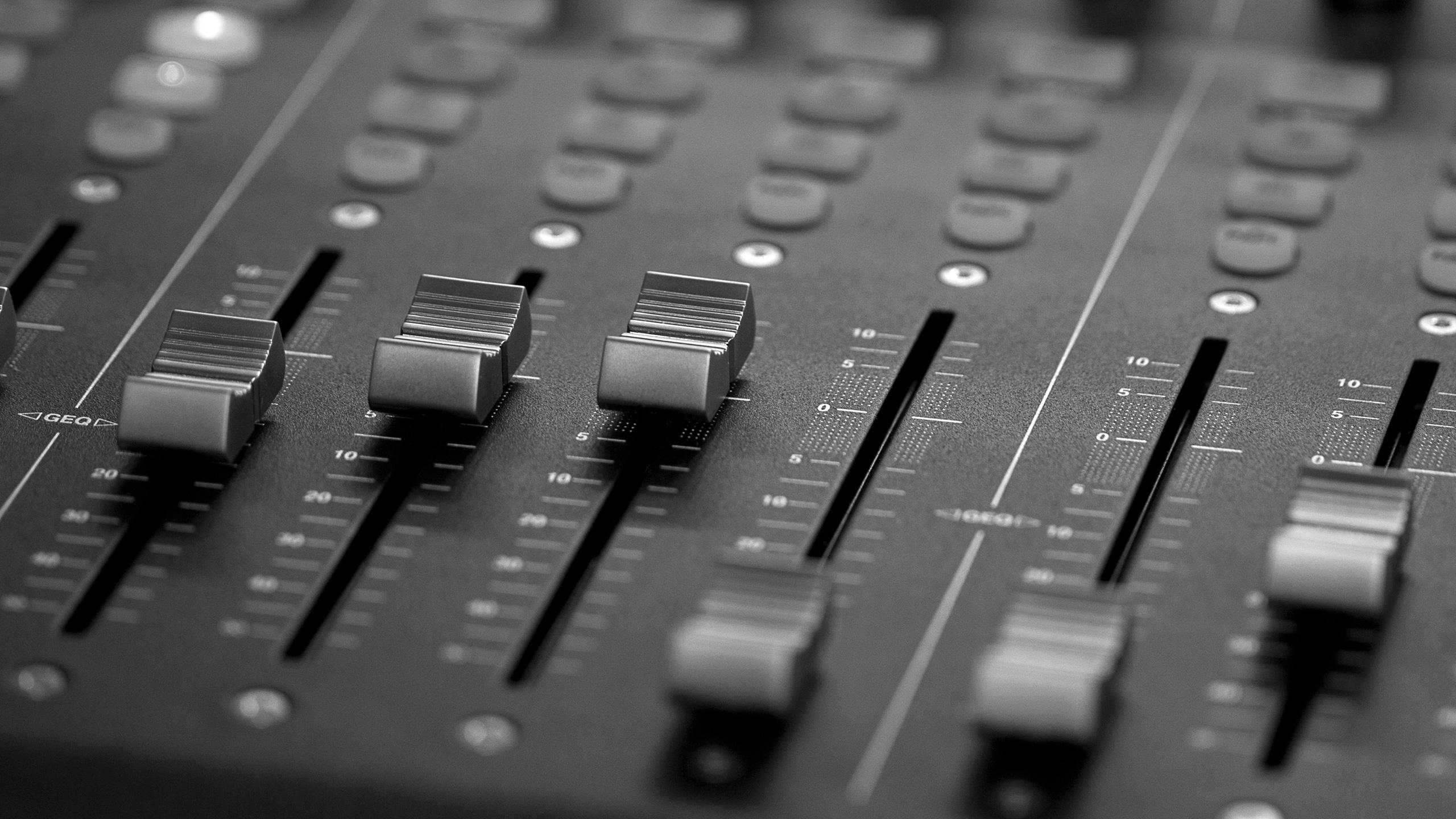 Black & White Photo of Sound Board