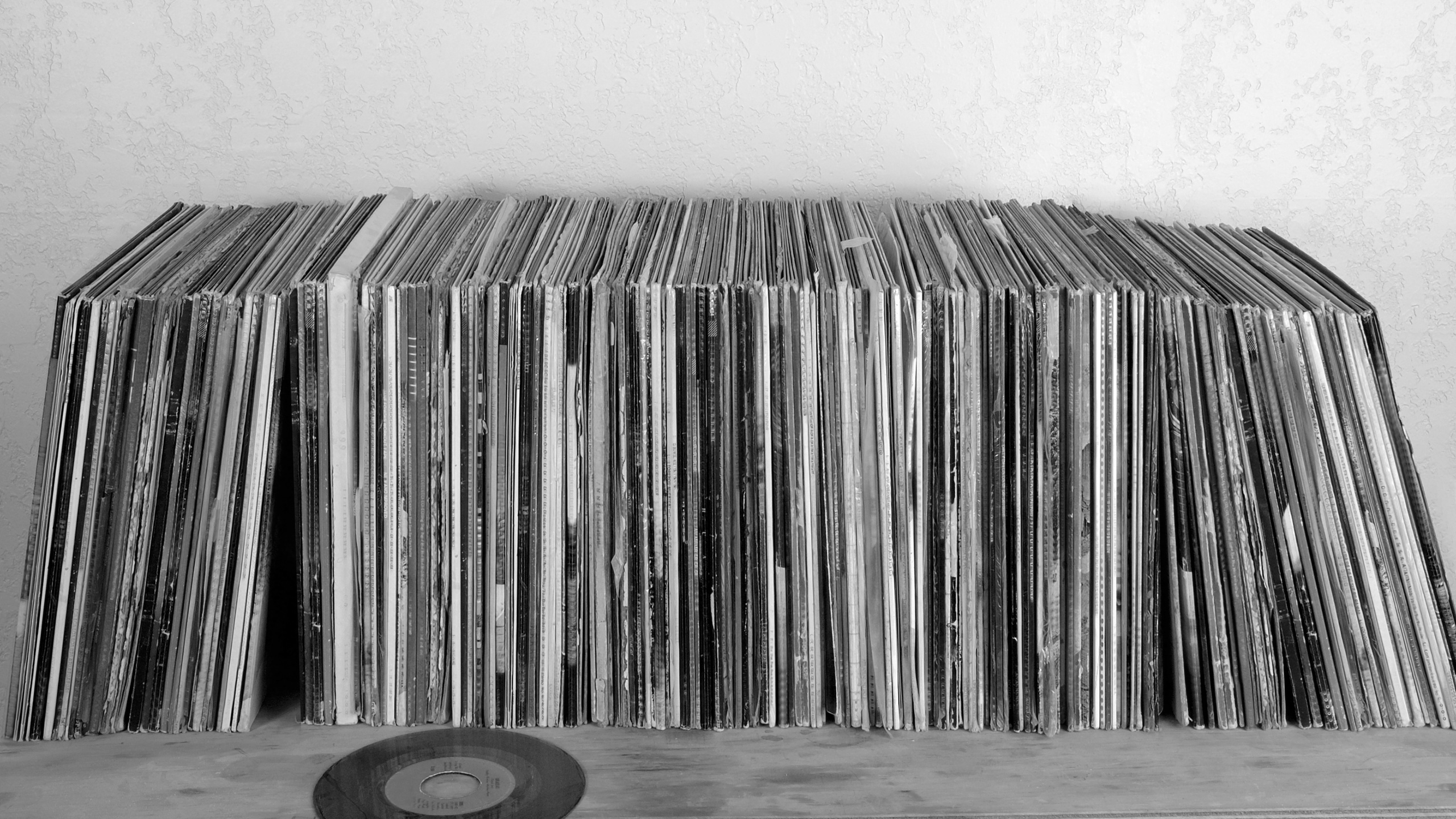 Black & White Photo of Record Collection
