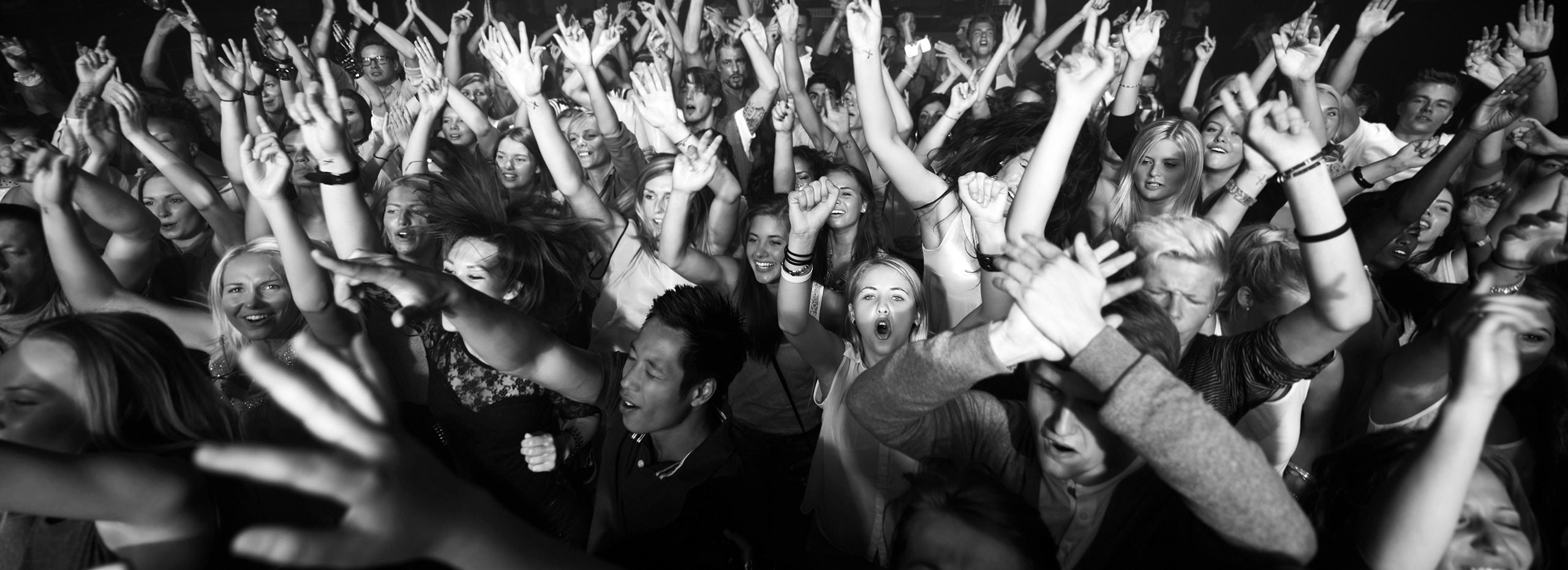 Black & White Photo of Concert Crowd